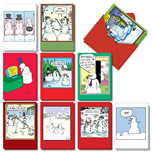 Let It Snowman - 20 Assorted Funny Christmas Cards with Envelopes (4.63 x 6.75 Inch) - Snowman Cartoon Designs, Boxed Notecard Set - Xmas Snowmen Stationery (10 Designs, 2 Each) AC7142XSG-B2x10 (Cards Environmental Christmas)