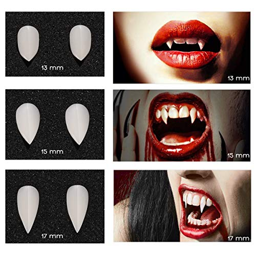 Unomor 3 Pairs Vampire Teeth Fangs Dentures for Halloween Cosplay Prop Decoration Party.]()