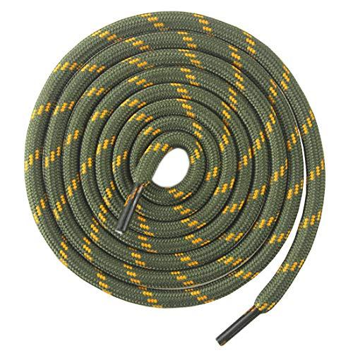 Mshega Round Athletic Shoelaces Dot Hiking Shoe Laces(Army Green Orange,120)