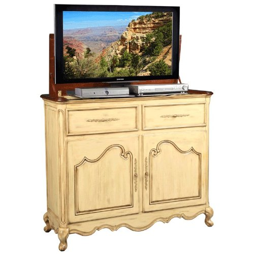TV Lift Cabinet for 32-46 inch Flat Screens (Weathered Cream) AT006332-CRM by TVLIFTCABINET, Inc