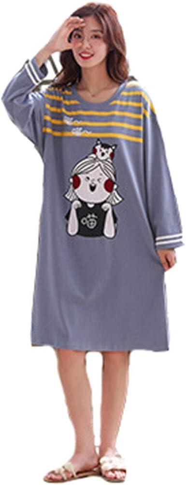 Vestido camisón de Pijama de Manga Larga de algodón para Mujer (1#, M(Asia L)): Amazon.es: Ropa y accesorios