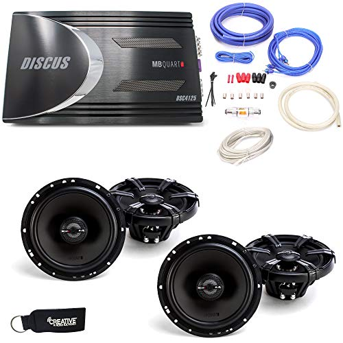 "MB Quart Discus DSC4125 4-Channel Amp, Two Pairs of MB Quart Z-Series ZK1-116 6.5"" 2-Way Coaxial Speakers & Wiring Kit"