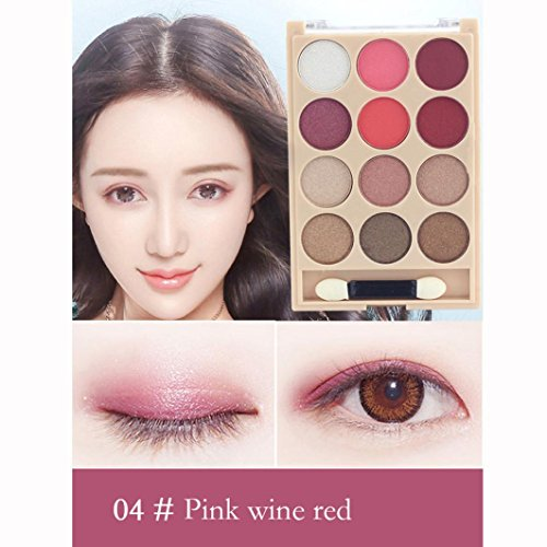 Peach Blossom Makeup Pink Eyeshadow, D-XinXin 12 Color Women Cosmetic Matte Eyeshadow Cream Makeup Palette Shimmer (D)