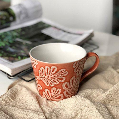 Btftkjbf Taza De Cerámica De Relieve Creativo Ins Hoja Simple Desayuno Avena Taza Café Taza Taza De Leche Amantes De Office,Verde: Amazon.es: Hogar