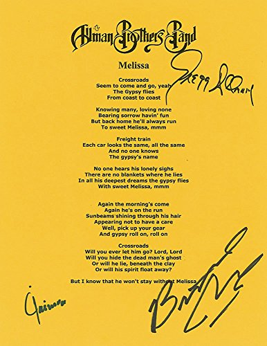"The Allman Brothers Autographed ""Melissa"" Lyrics. (signed by 3) PSA/DNA COA."
