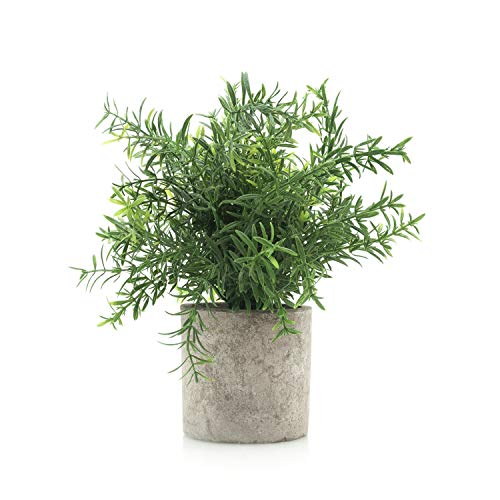 Velener Mini Potted Plastic Fake Green Plant for Home Decor (Bamboo Leaves) (Place Best Buy Faux Flowers To)