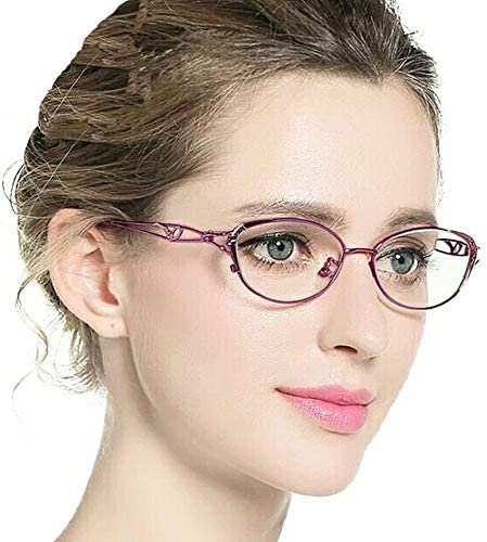 老眼鏡、レディースコンフォートリーディンググラス、ビンテージラウンドメタルフレーム、放射線防護、ピンク/パープル