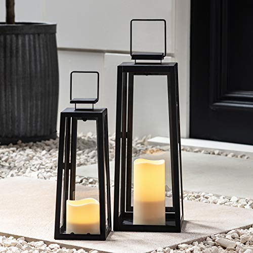 Lights4fun, Inc. Set of Two Black Metal Battery Operated LED Flameless Candle Lanterns for Indoor Outdoor Use -