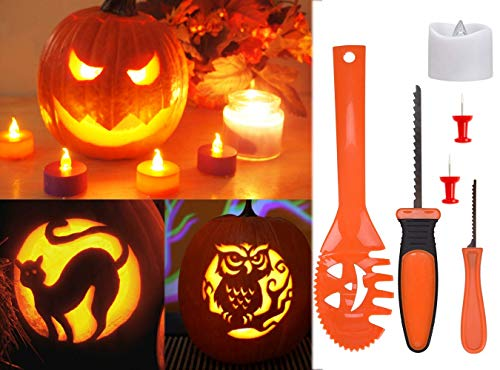 [15 pieces]Pumpkin Carving Kit, DealKits Professional Pumpkin Tools with Battery-operated Candle and 9 Stencils for Halloween Party Decorations Home Dcor]()