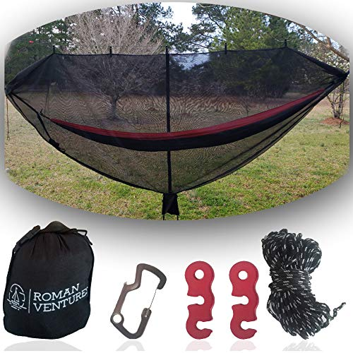 Hammock Bug Net - 12' Hammock Mosquito Net Fits All Camping Hammocks. Includes Loop For Reading Light, Carabiner Bottle Opener, Tensioner System And 30 Foot Guy Line. Lightweight. Easy Setup.