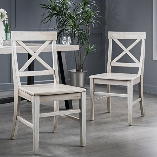 Truda Farmhouse Light Grey Finish Acacia Wood Dining Chairs by Great Deal Furniture