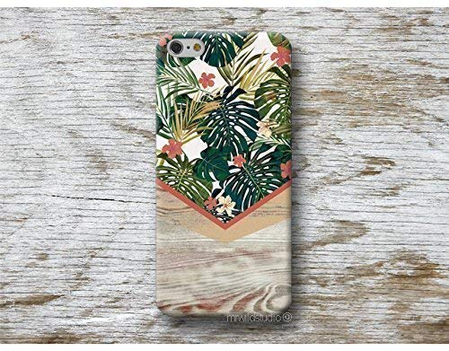 Funda Verano Monstera Madera Print para iPhone 4 5 5s SE 6 6s 7 Plus Samsung Galaxy s8 s7 s6 s5 A5 A3 J5... Huawei LG Moto Oneplus Sony HTC ....