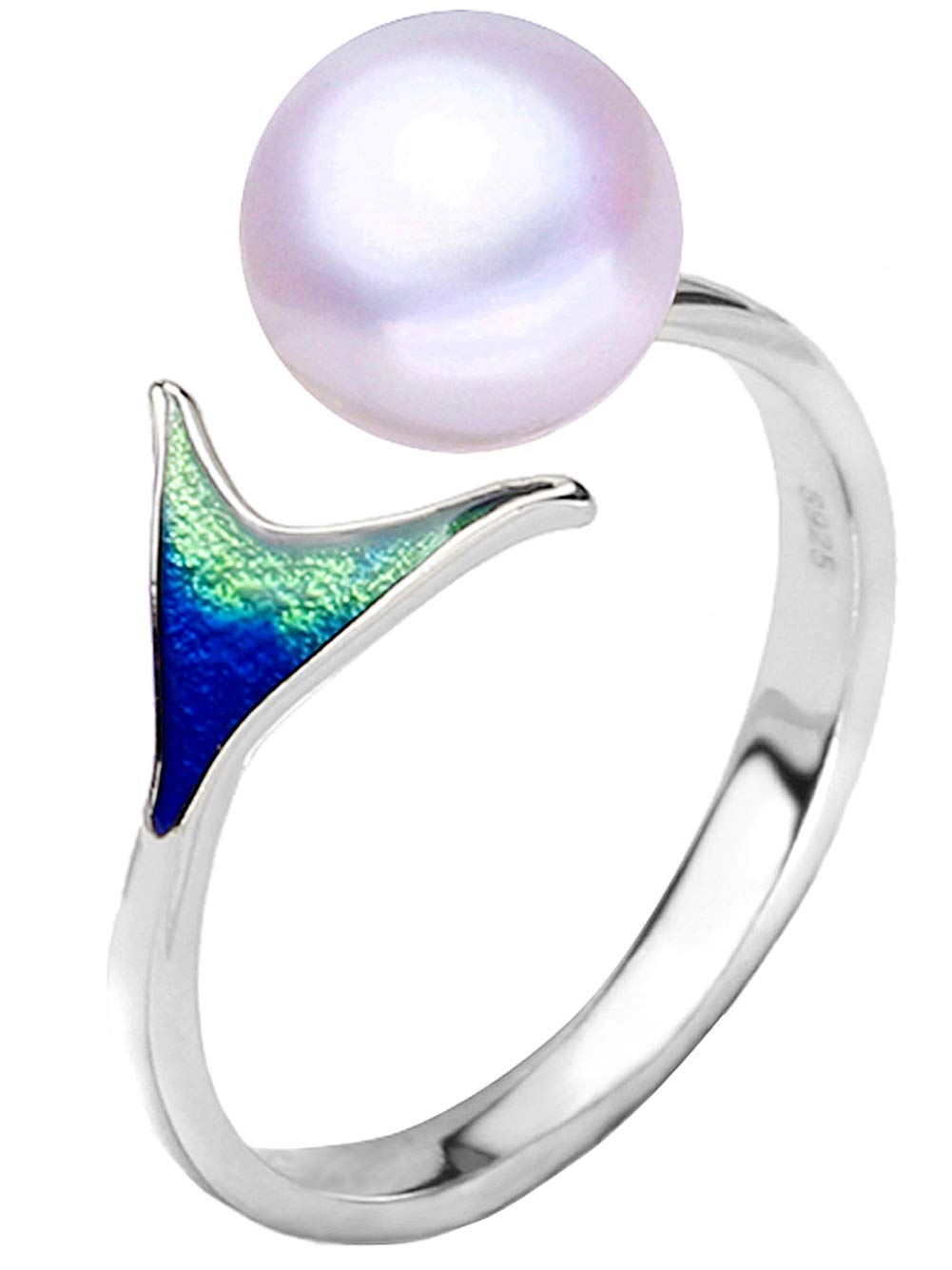 Presentski 925 Sterling Silver Mermaid Pearl Rings for Women Statement Ring Engagement Ring