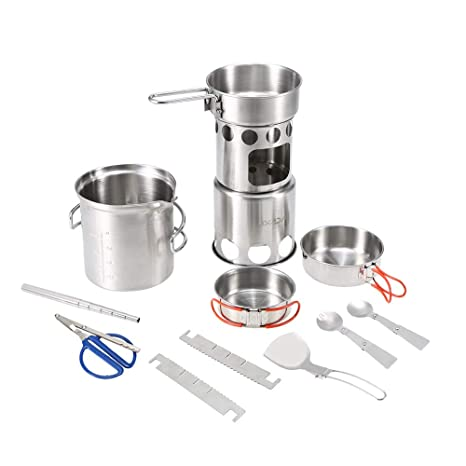 Sports & Entertainment Outdoor Camping Cookware Set Wood Stove Cooking Pot Set Stainless Steel Tableware Folding Cookware For Backpacking Fishing New