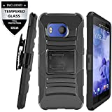 HTC U11 Case With Tempered Glass Screen Protector,IDEA LINE(TM) Heavy Duty Armor Shock Proof Dual Layer Holster Locking Belt Swivel Clip with Kick Stand - Black(Not fit HTC U11 Life)