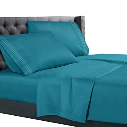 Awesome King Size Bed Sheets Set Teal, Bedding Sheets Set On Amazon, 4 Piece