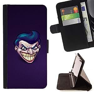 BullDog Case - FOR/Sony Xperia Z3 D6603 / - / Evil Joker Grin /- Monedero de cuero de la PU Llevar cubierta de la caja con el ID Credit Card Slots Flip funda de cuer