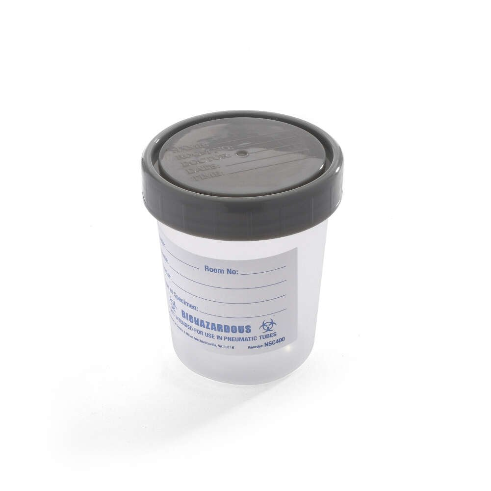 MediChoice Specimen Container, Urinalysis, With Gray Plastic Screw-On Lid, Single Patient Use, Polypropylene, Clear (Pack of 25)