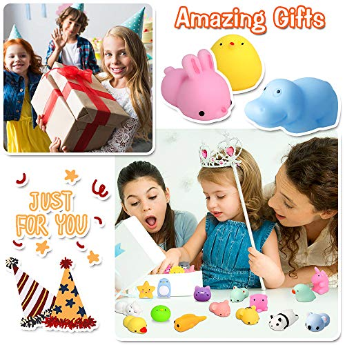 FLY2SKY 45Pcs Mochi Squishy Toys Mini Squishies Kawaii Animal Squishies Party Favors for Kids Cat Panda Unicorn Squishy Novelty Stress Relief Toys Birthday Gifts Goody Bags Class Prizes Pinata Fillers by FLY2SKY (Image #4)
