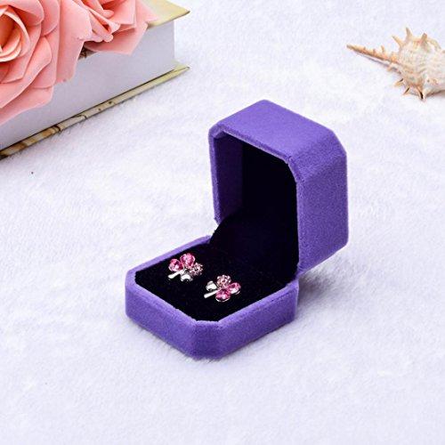 - DZT1968 Fashion Velvet Engagement Wedding Earring Ring Pendant Jewelry Display Box Gift (purple)