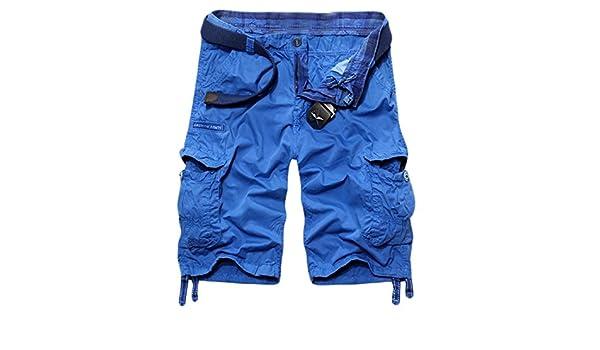 624d981490 Amazon.com: MLG Men's Baggy Fit Multi Pocket Cargo Shorts Asia 34 sky blue:  Clothing
