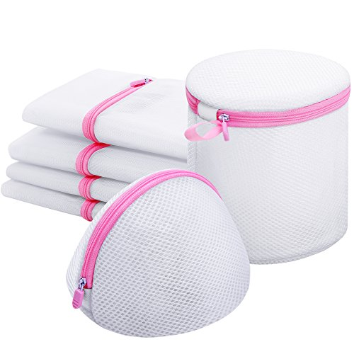 Delicate Laundry Bag,6 Pcs Washing Machine Mesh Bag for Blouse Stocking Underwear Bra Baby Cloth and Lingerie,Travel Storage Organize Bag with Zipper White