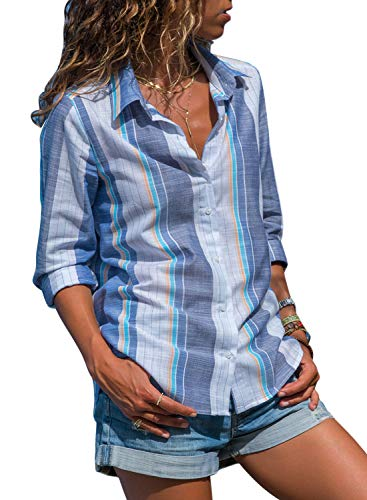 (HOTAPEI Womens Casual V Neck Striped Tie Knot Button Down Collar Chiffon Work Blouses Long Sleeve Office Tunic Tops Shirts Blue and White Small)