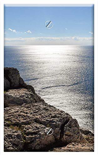 Single-Gang Blank Wall Plate Cover - Sea Seashore Water Sparkling Rock Cliff Sky