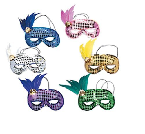 Dozen Mardi Gras Sequin and Feather Assorted Masks [Toy] by FE - Wholesale Lot 12 Pastel