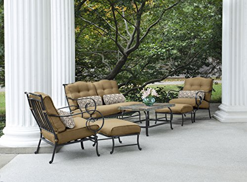 Hanover Oceana 6-Piece Seating Set with Stone-top Table Outdor Furniture Country Cork / Henna Sun OCEANA6PC-TAN