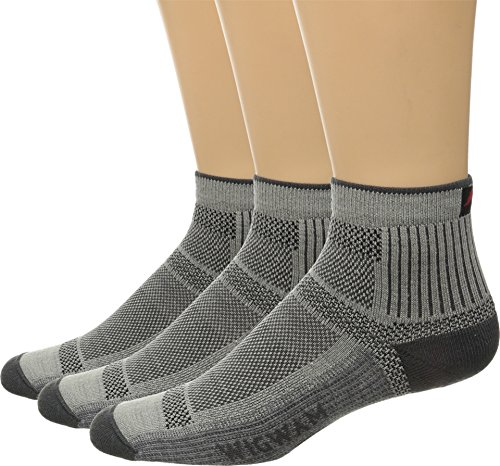 Wigwam Unisex Ultra Cool Lite Quarter 3-Pack Grey Large
