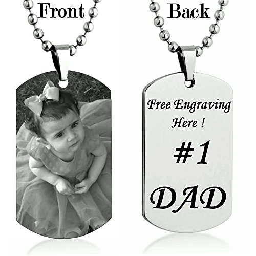Personalized Custom Photo Color and Engraved Dog Tag Necklace Pendant with 24 inch Stainless Steel Chain with velvet Giftpouch and Keyring (Silver Tone Engrave) (Pendant Sports Tag Necklace)