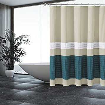Sand Fabric Shower Curtain With Pintuck Teal And White Accent