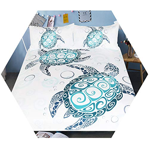 (ExpertS Bed Sheet Turtles Bedding Set Tortoise Duvet Cover Marine Animal Home Textiles 3-PCS Cartoon Bedclothes US Twin)