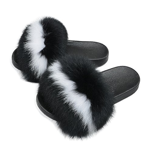 Jancoco Max Women Real Fur Slippers Fluffy Slides Indoor Outdoor Flat Soles Soft Summer Shoes