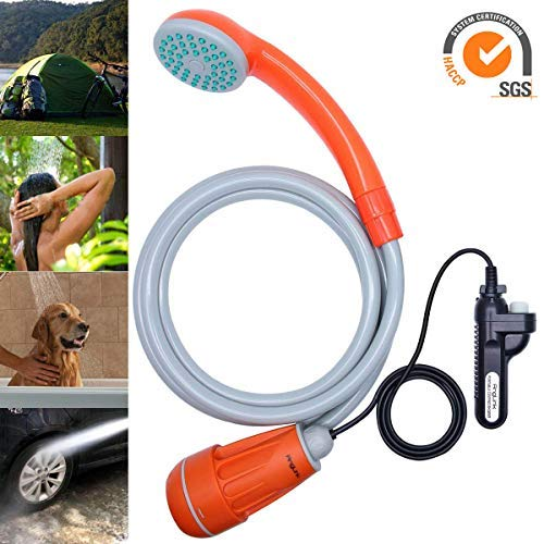 Hose Shower Portable (Anglink Upgraded Portable Camping Shower, Battery Powered Outdoor Shower for Outdoors, Camping, Pet Cleaning, Car Washing, Plants Watering - Turns Water from Bucket/Sink Into Steady, Gentle Stream)