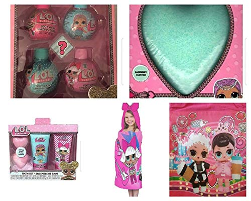 LOL L.O.L Surprises Easter Bundle 2 Bath Sets, 1 Hooded Towel, 1 Bath Bomb (Color of Bathbomb will vary) and a Drawstring Backpack ()