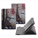 """Tsmine Acer Switch One 10 Case - Universal Rotary Protective Leather Case Stand Cover for Acer Switch One 10 10.1"""" Tablet, Eiffel Tower"""