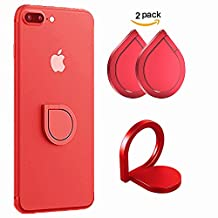 Phone Ring Stand, NOKEA 2 PCS Universal 360 Degree Rotation Ring Holder Grip/Kickstand/for Any Smartphones and Device, for iPhone 7/7 plus,Samsung Galaxy Note 8/S8 Active, HTC, LG (Red)