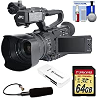 JVC GY-HM200SP Ultra 4K HD 4KCAM Professional Sports Production Camcorder with Top Handle Audio Unit + XLR Microphone + 64GB Card & Reader + Kit