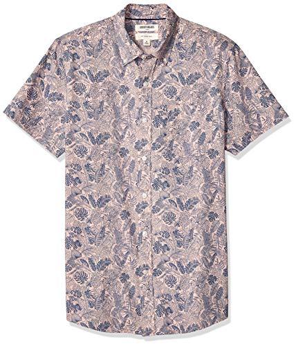 69aa19ea50b9 Goodthreads Men's Slim-Fit Short-Sleeve Printed Poplin Shirt, Pink Parrot,  X-Large Tall