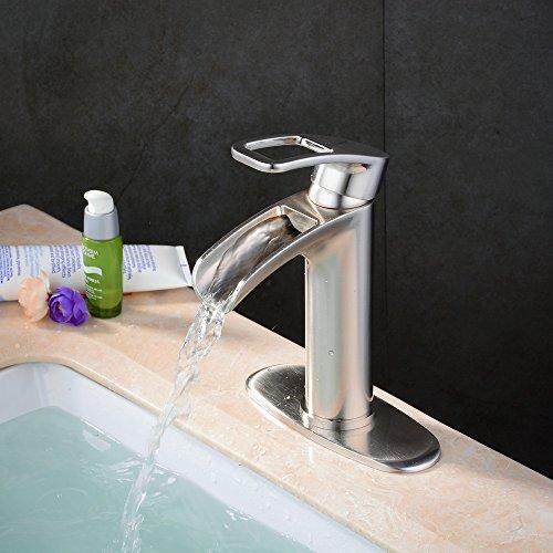 Bathroom Faucet Brushed Waterfall Hiendure
