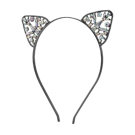 Diadema de cristales para gatos, diseño de gatito con diamantes de imitación, para mujeres