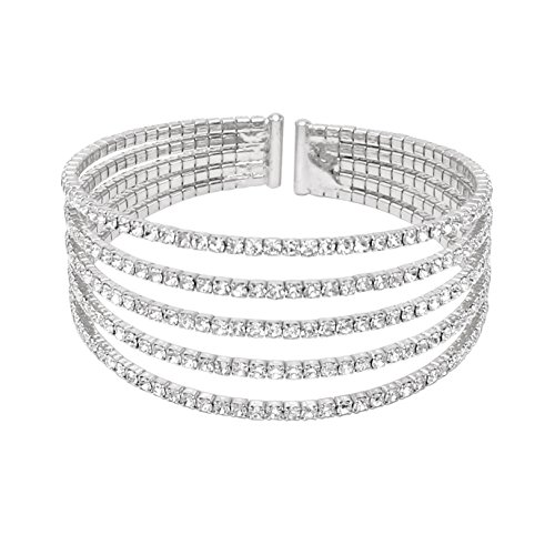 - Rosemarie Collections Women's 5 Strand Rhinestone Statement Bracelet (Silver)