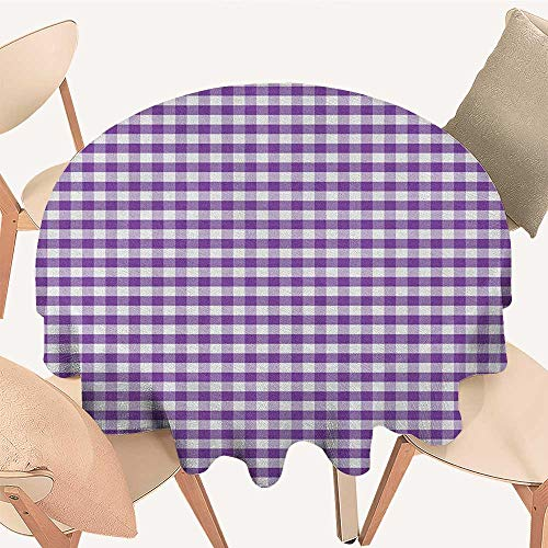 longbuyer Checkered Dinning Tabletop Decoration Purple and White Colored Gingham Checks Rows Picnic Theme Vintage Style Print Round Tablecloth D 60