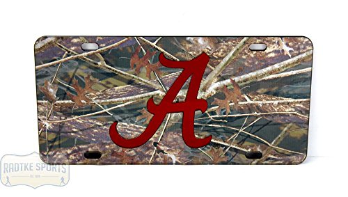 Alabama Crimson Tide Officially Licensed NCAA Laser Tag Mirror License Plate - Camouflage