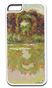 Claude Monet-Rose Arch-Giverny- Case for the APPLE iphone 5 5s ONLY!!!-NOT COMPATIBLE WITH THE iphone 5 5s !!!-Hard White Plastic Outer Case