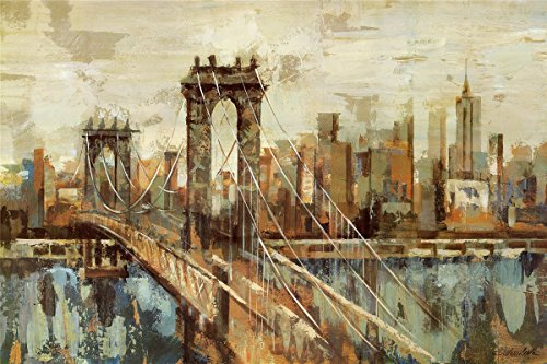(HommomH 60x80 Blanket Throw Comfort Thin Soft Air Conditioning Abstract Oil Vintage New York Brooklyn Bridge)