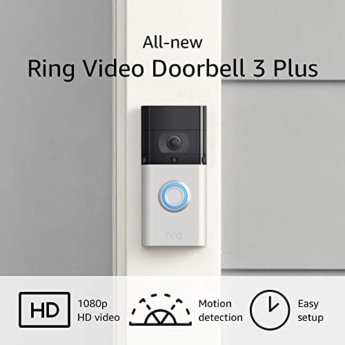 All-new Ring Video Doorbell 3 Plus enhanced wifi, improved motion detection, 4-second video previews, easy installation