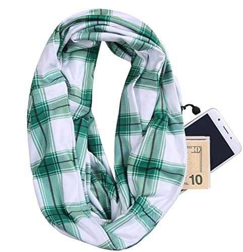 JOKHOO Women's Infinity Fall Winter Scarf Classic Plaid Scarf Warm Soft Shawl Scarves Zipper Pocket Travel Scarfs (One size, Plaid Light green)